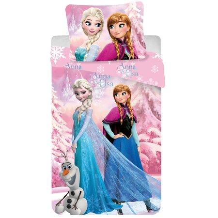 Lenjerie de pat pentru copii Regatul de gheață  Frozen roz 2016, 140 x 200 cm, 70 x 90 cm