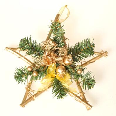 Dekorativní hvězda Poinsettia, zlatá, v. 30 cm