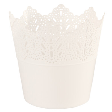 Osłona plastikowa na doniczkę Koronka 11,5 cm, biały