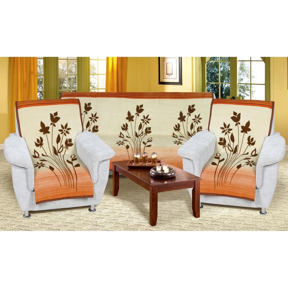 Bellatex Prehozy na sedaciu súpravu Karmela plus Kvety béžovomedové, 150 x 200 cm, 2 ks 65 x 150 cm