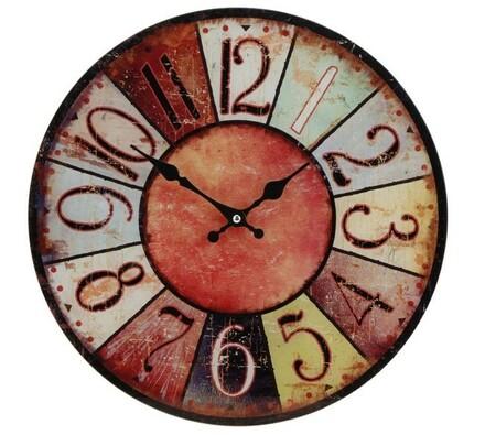 Nástěnné hodiny skleněné červené