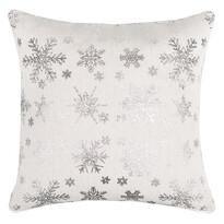 Față pernă, model Crăciun Fulg de zăpadă, argintie, 40 x 40 cm