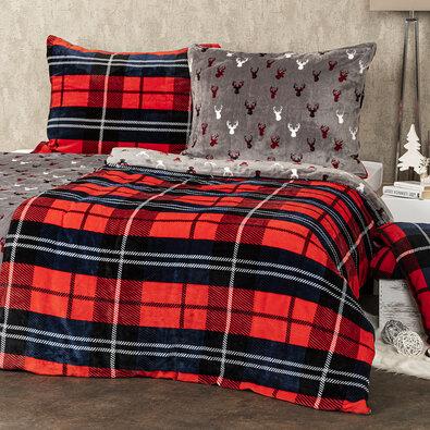 4Home obliečky mikroflanel Kocka červená, 140 x 200 cm, 70 x 90 cm