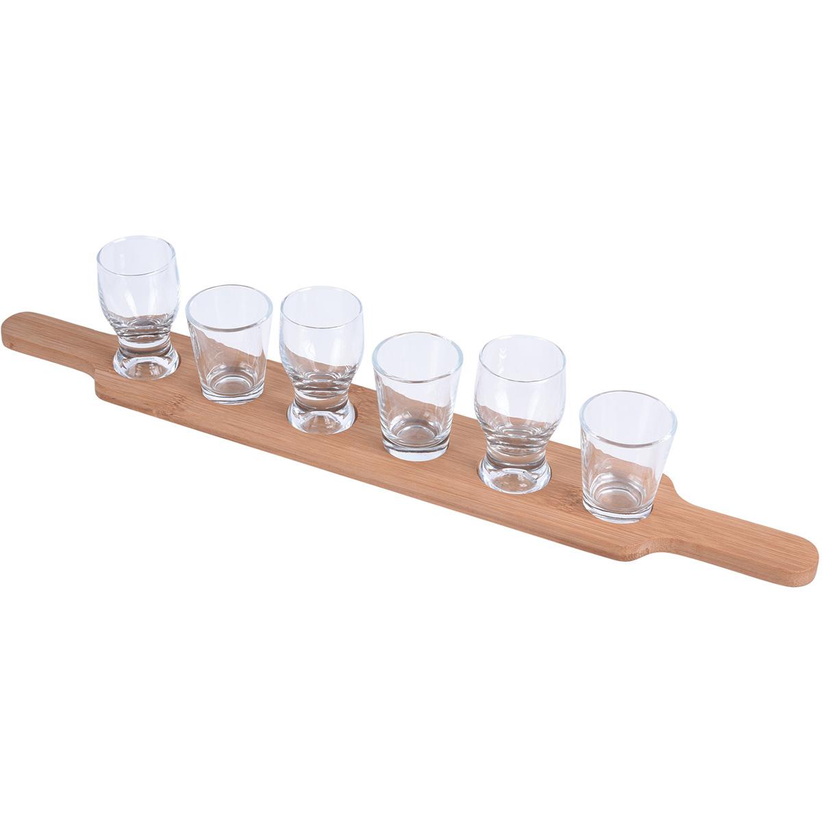 Sada pohárikov a dreveného podnosu, 7 ks