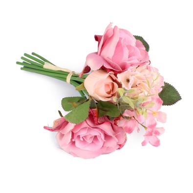 Umělá kytice růže a hortenzie růžová