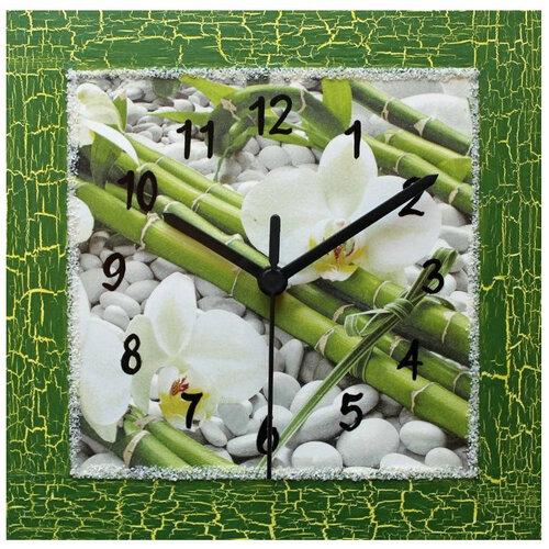 Nástenné hodiny Feng shiu kompozice s orchidejí,