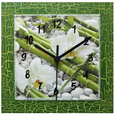 Nástěnné hodiny Feng shiu kompozice s orchidejí