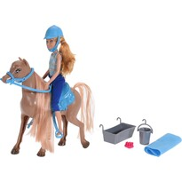 Bábika s koňom, hnedá, 19 x 21 cm