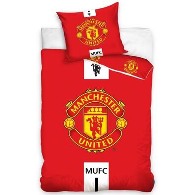 Bavlněné povlečení Manchester United Erb, 140 x 200 cm, 70 x 90 cm