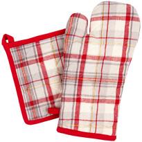 Zestaw kuchenny rękawica i podkładka Krata czerwono-beżowy, 18 x 32 cm, 20 x 20 cm