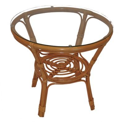 Ratanový stolek Bahama se sklem, medová