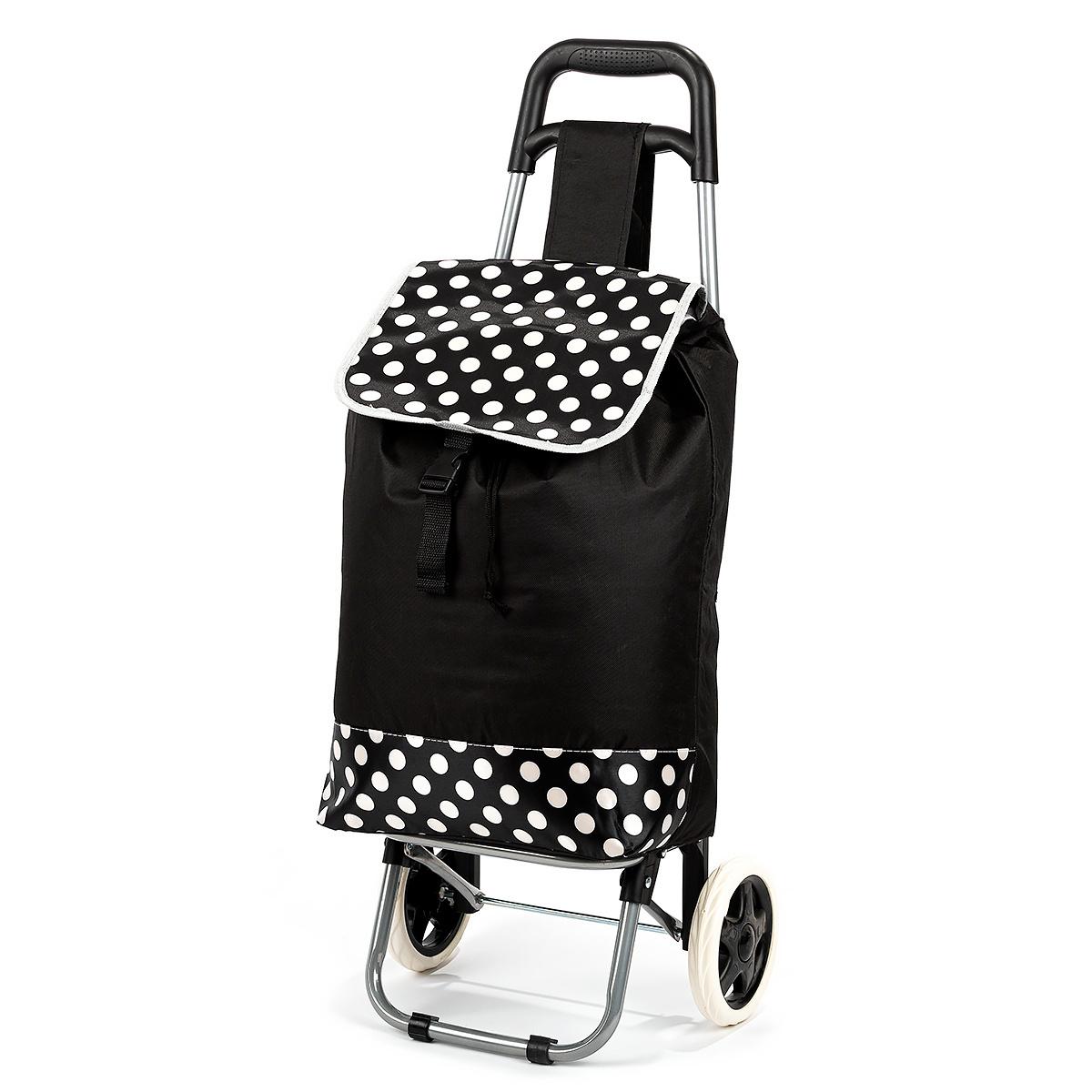Nákupná taška na kolieskach Bodka, čierna