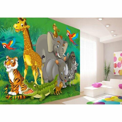 Dětská fototapeta XXL Zvířata v džungli 360 x 270 cm, 4 díly