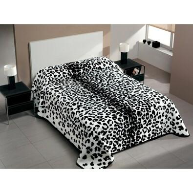 Španělská deka Piel Gepard, černá, 220 x 240 cm, bílá + černá