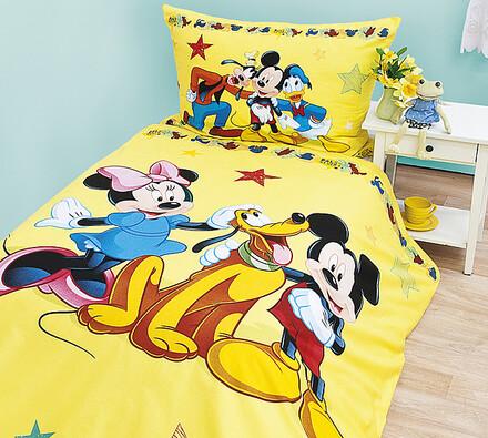 Dětské bavlněné povlečení Mickey a přátelé, 140x20, žlutá, 140 x 200 cm, 70 x 90 cm