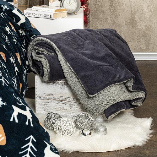 Pătură 4Home imitație blăniță gri deschis/antracit, 150 x 200 cm