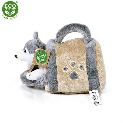 Rappa Plyšový pes Husky s přepravkou, 13 cm