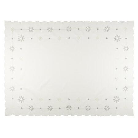 Faţă de masă crăciun Fulgi  albă, 120 x 140 cm