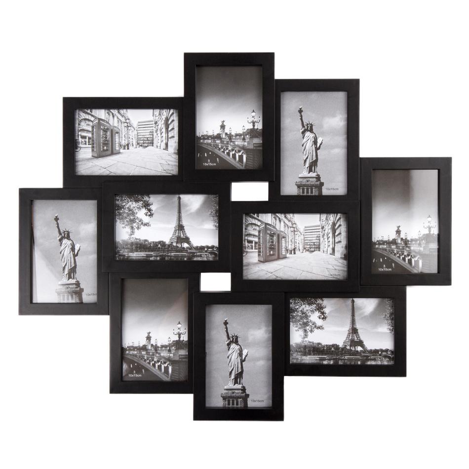 Fotorámeček Sultan na 10 fotografií 10 x 15 cm, černá, 49 x 59 cm