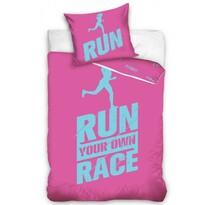 Lenjerie pat 1 pers. Run, bumbac percale, roz, 140 x 200 cm, 70 x 90 cm