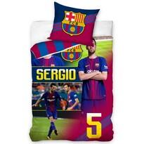 Pościel bawełniana FC Barcelona Sergio, 140 x 200 cm, 70 x 80 cm