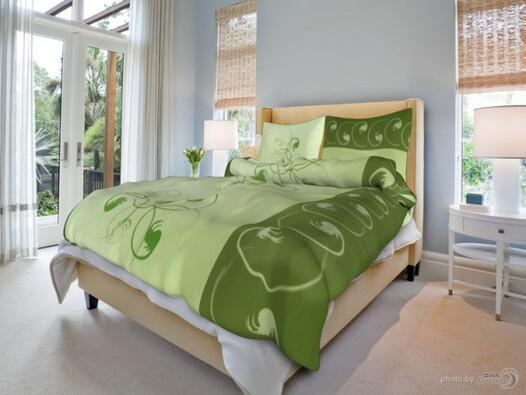 Bavlněné povlečení Chmýří zelené, 140x200, 70x90 c