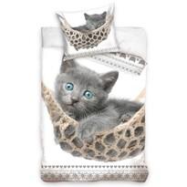 Bavlnené obliečky Sivé Mačiatko, 140 x 200 cm, 70 x 90 cm