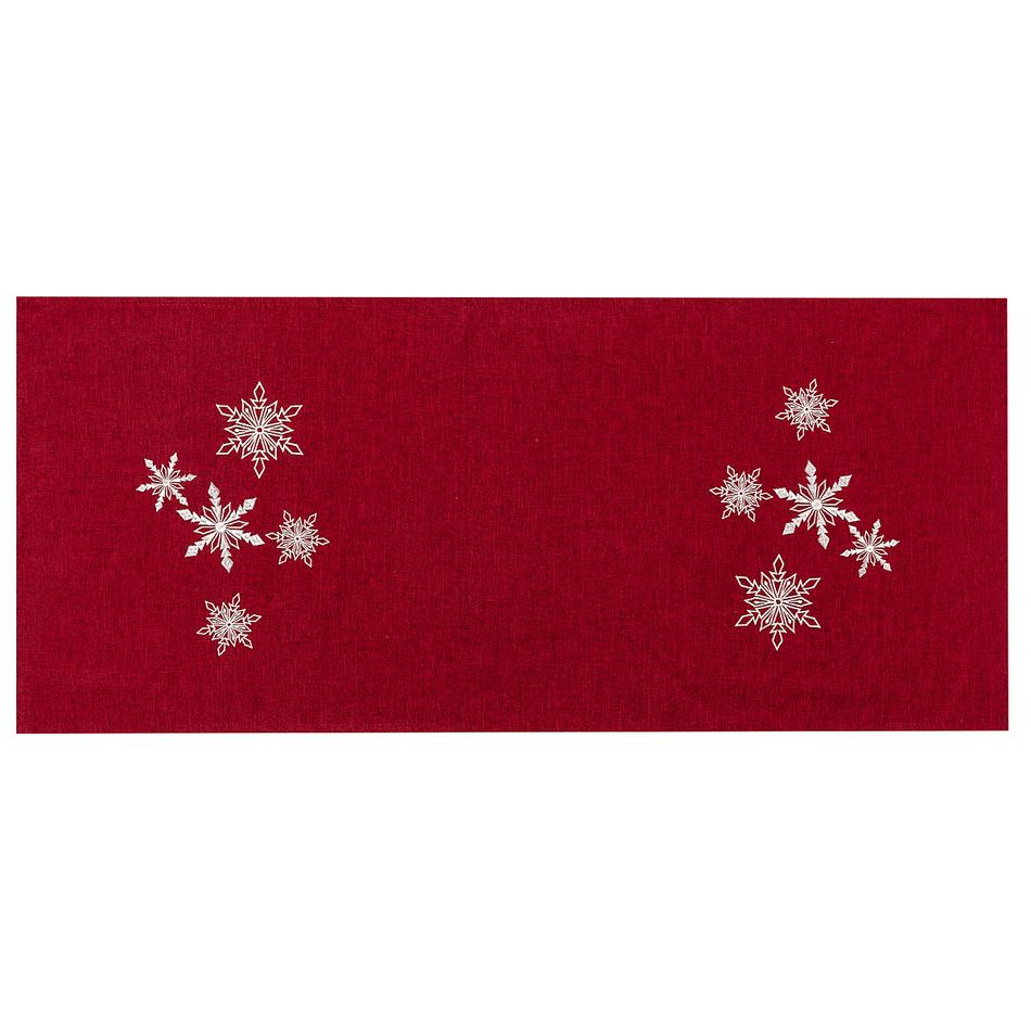 BO-MA Trading Vánoční ubrus Vločky červená, 40 x 90 cm