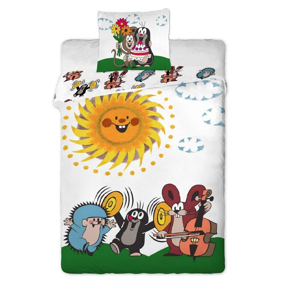 Jerry Fabrics Detské bavlnené obliečky Krtko s kamarátmi, 90 x 130 cm, 40 x 60 cm