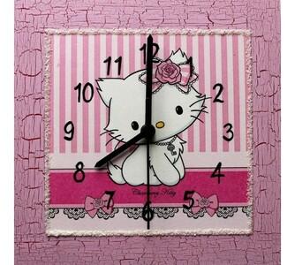 Nástěnné hodiny Charmy Kitty s mašlí