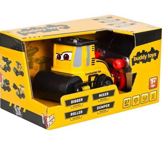Stavebné auto Valec Buddy Toys, čierna + žltá