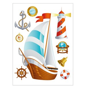 AG Art Samolepicí dekorace Loď, 42,5 x 65 cm