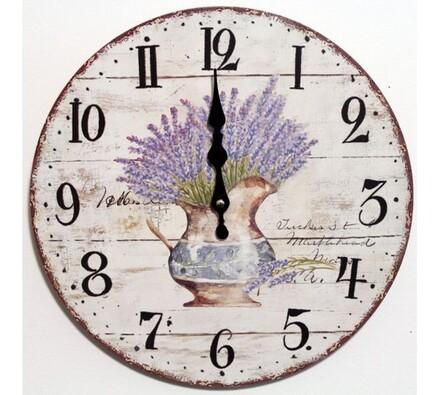 Nástěnné hodiny levandule ve džbánku