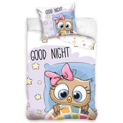 Detské bavlnené obliečky Sova Dobrú noc, 140 x 200 cm, 70 x 80 cm