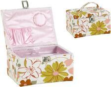 Truhla na šití růžová hranatá