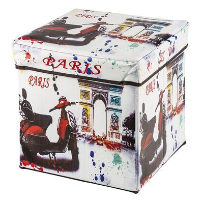 Skládací sedací box s potiskem motorka Paris