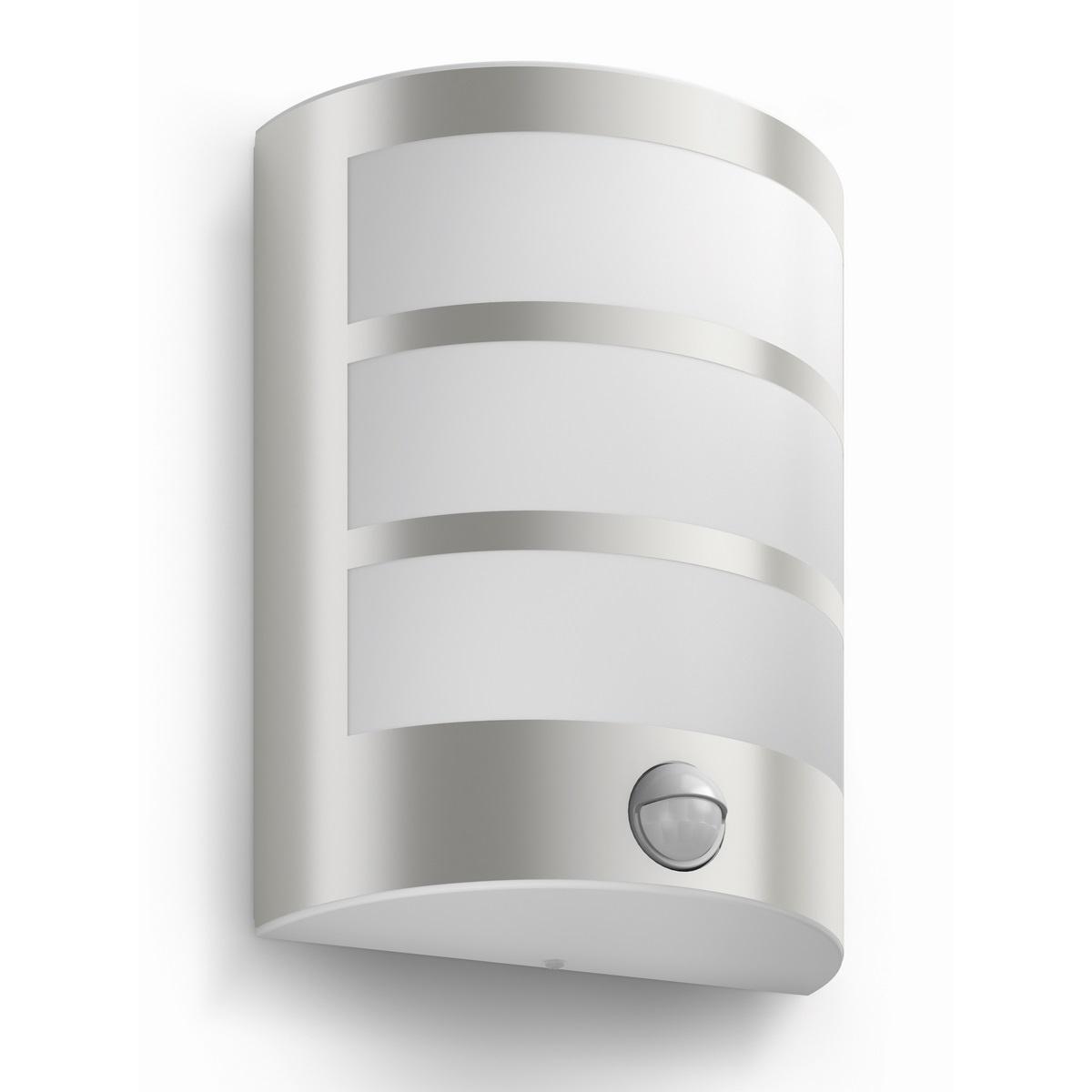 Philips 17324/47/16 Python Vonkajšie nástenné LED svietidlo s čidlom 21 cm, strieborná