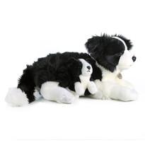 Câine pluș Rappa Border Colie, cu pui, 45 cm