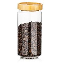 4Home Sklenená dóza na potraviny s viečkom Bamboo Style, 1000 ml