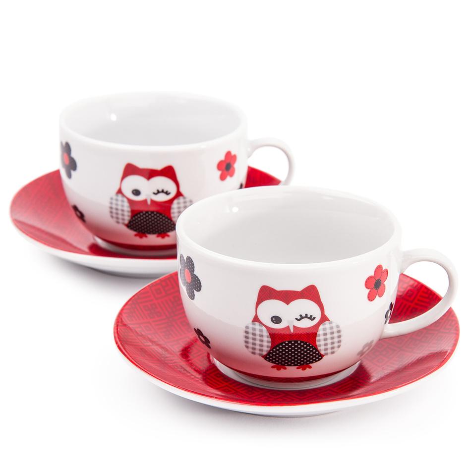 Šálek s podšálkem Červená sova, 2 ks, 250 ml, porcelán