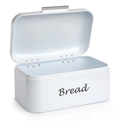 Plechový chlebník, biela, 30 x 18 x 15 cm