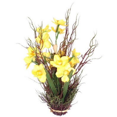 Umělá květina aranžmá narcisů s trávou