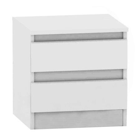 Nočný stolík Hany 002, 2 šuplíky, biela
