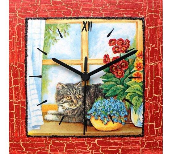 Dekoratívne nástenné hodiny Mačka v okne