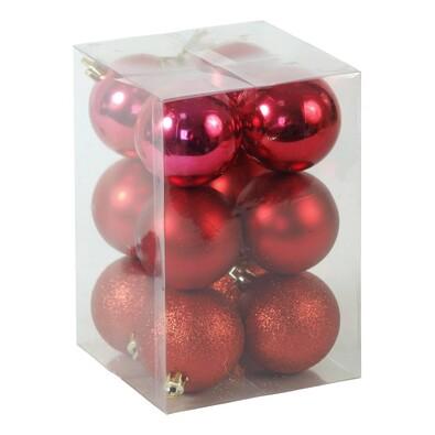 Plastové vánoční koule, červené, 12 ks, červená