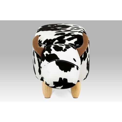 Taburet s úložným prostorem Kráva, černobílá