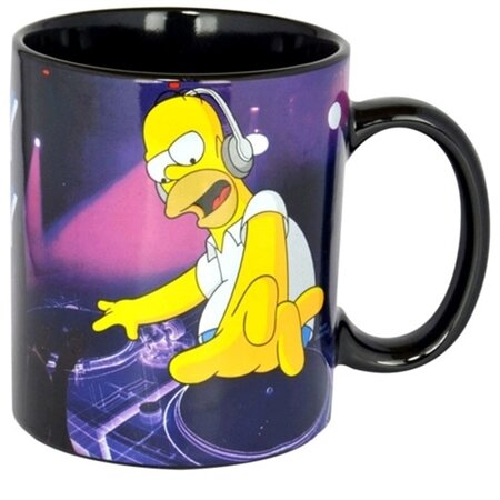 Porcelánový hrnek The Simpsons: DJ Homer (objem 320 ml) černý porcelán [0119567] CurePink