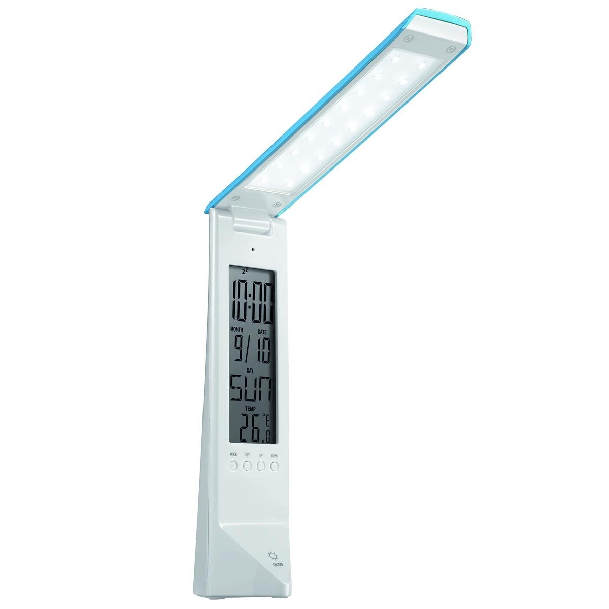 PANLUX DAISY multifunkčný stolná lampička s displejom, bielo / modrá PN15300003