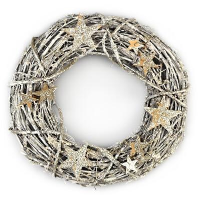 Estrello karácsonyi rattan koszorú, arany, átmérő: 26 cm