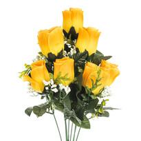 Umelá kytica Ruže žltá, 48 cm